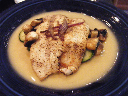 Seared trout with buerre blanc and sauteed vegetables
